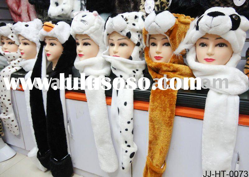 Animal Plush Hat with long mittens