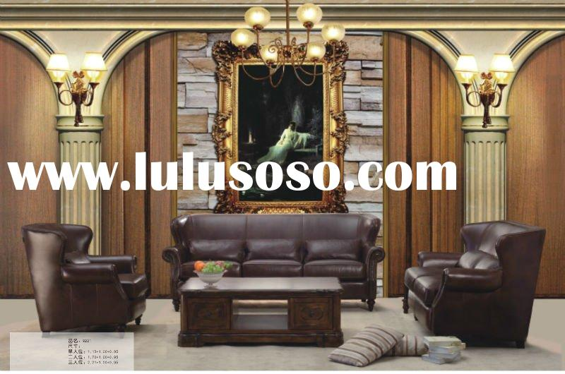Antique American Style Leather living room furniture Sofa