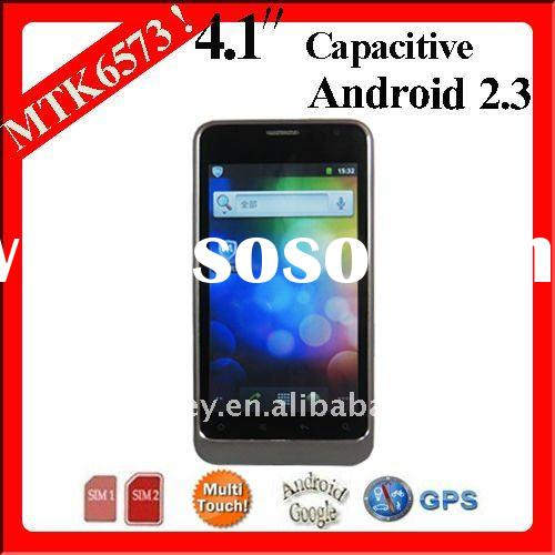 "B63M MTK6573 4.1"" Capacitive WCDMA Android 2.3 3g dual sim phones video call"
