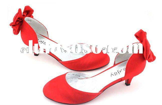 BS216 women's red low heel bridal wedding shoes party shoes