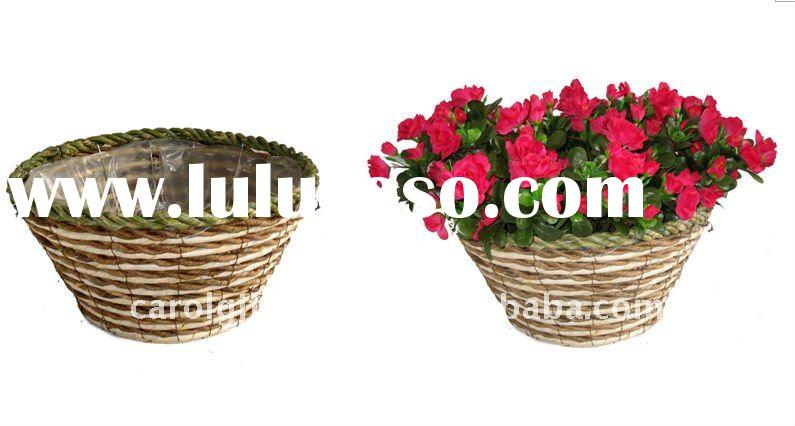 Banana leaf and Corn rope Round planter- Round flower pot - Banana leaf and Corn rope plant containe
