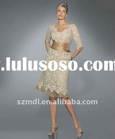 Beautiful lace tulle flower long sleeve ivory short belt evening dress bridesmaid dress mother dress