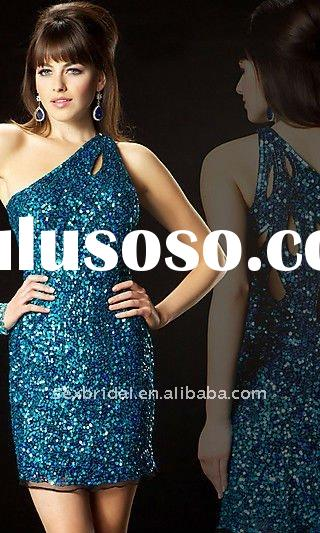 Blue and navy blue mode one shoulder short sequins prom dress DC-BM235