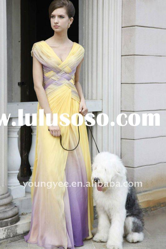 Cap sleeves purple yellow beautiful pleated 2011 prom dresses 2012(PR10002)