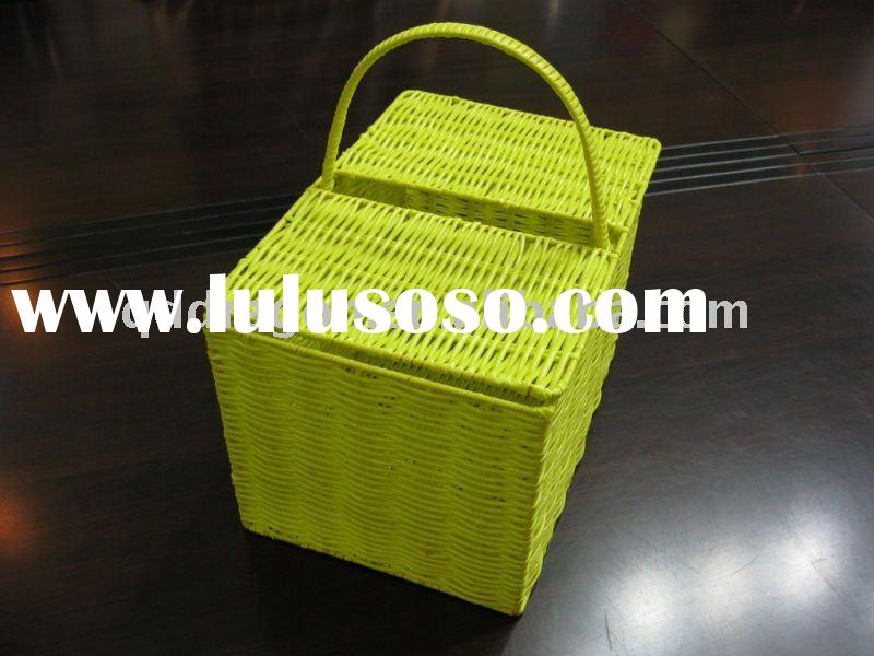 Convenient plastic picnic storage basket for food or bottles