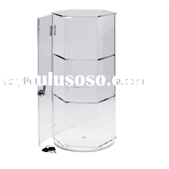 Crystal Acrylic Lockable Rotating Countertop Display Case