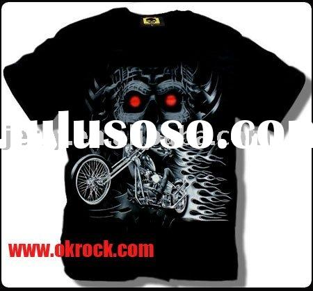 Custom Luminous Rock Skull Cotton T shirts for Men T-GR-014