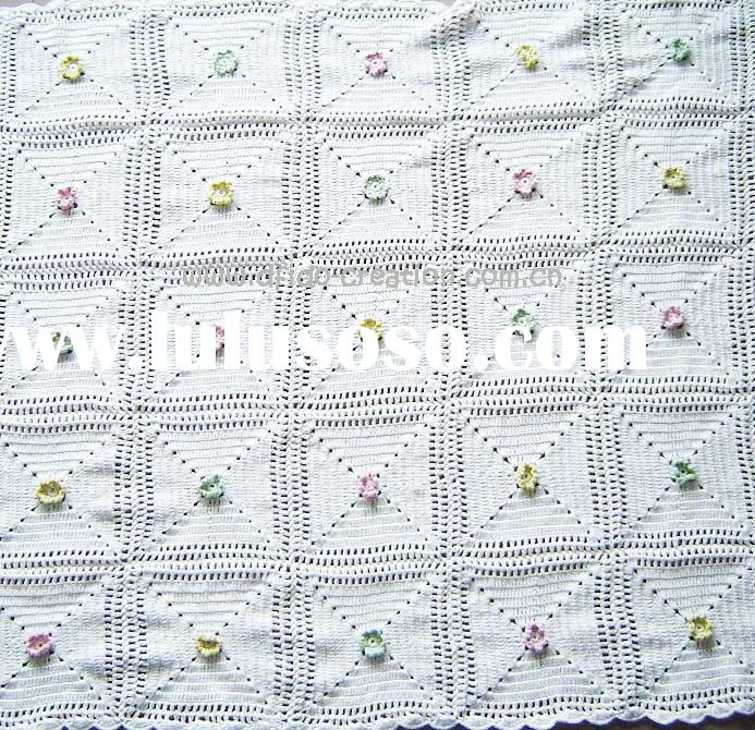 DD10009A Hand Crochet Baby Red flowers cotton fabric Soft Blankets Afghan Coverlet Milk Cotton