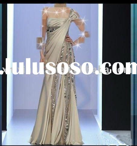 DE314 Free shipping 2011 Gorgeous nude one-shoulder sequins beaded women's formal evening dr