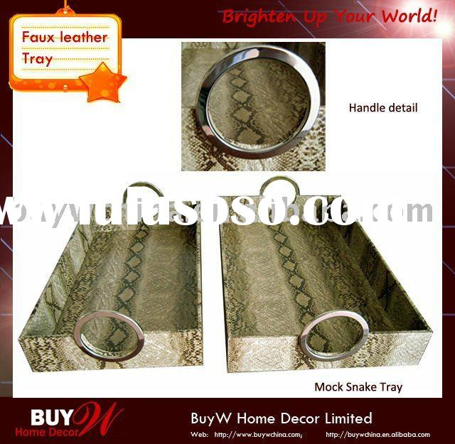 Decorative Mock Snake PVC leather bar tray/Beer serving tray with metal handles