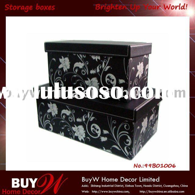 Decorative S/2 faux leather storage boxes