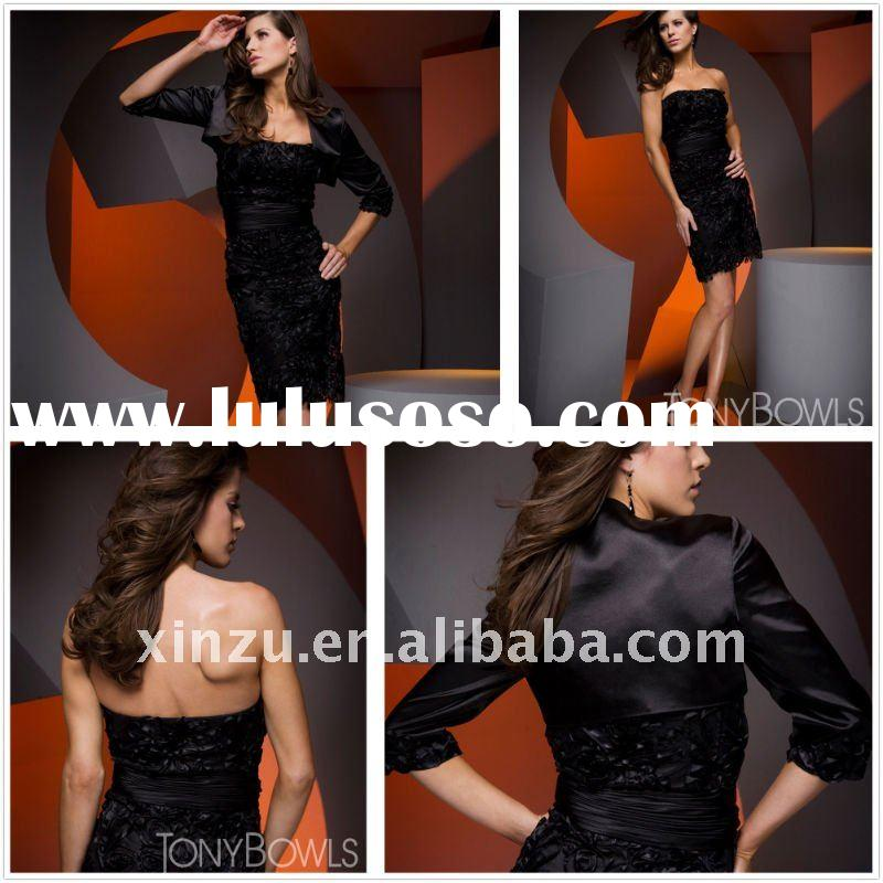 Elegant Strapless Ruched Short Evening Dress With A Long Sleeve Coat WH00376