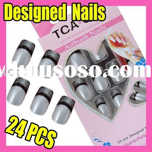 F322 Hot Sales Fast Shipping Product French Fake Acrylic Tips and Glue Nail Art