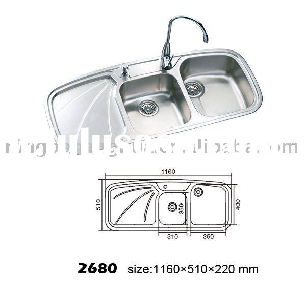 FAM2680 Stainless Steel Kitchen Sink Double Bowl With Drain Board