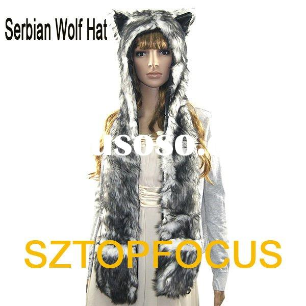 FAUX FUR ANIMAL HATS WITH LONG MITTENS SERBIAN WOLF DESIGN