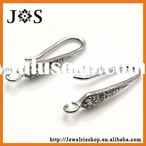 Fashion 925 Sterling Silver Pave CZ Crystal Ear Wires Hook