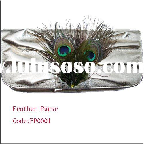 Fashion Wallet/Fashion purse/Fashion Pouch/Fashion Burse with Real Natural Feather Decoration