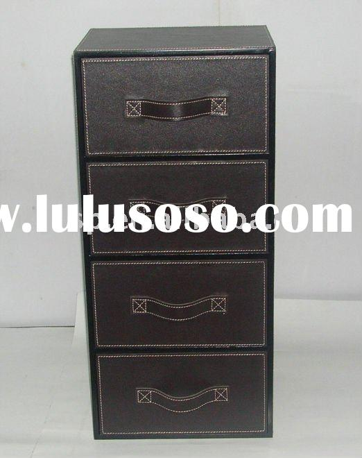Faux leather chest of drawers with 4 drawers