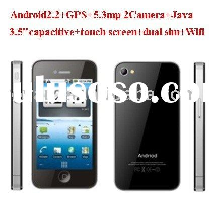 GPS smart phone with Android 2.2dual sim card 2 H-D camera