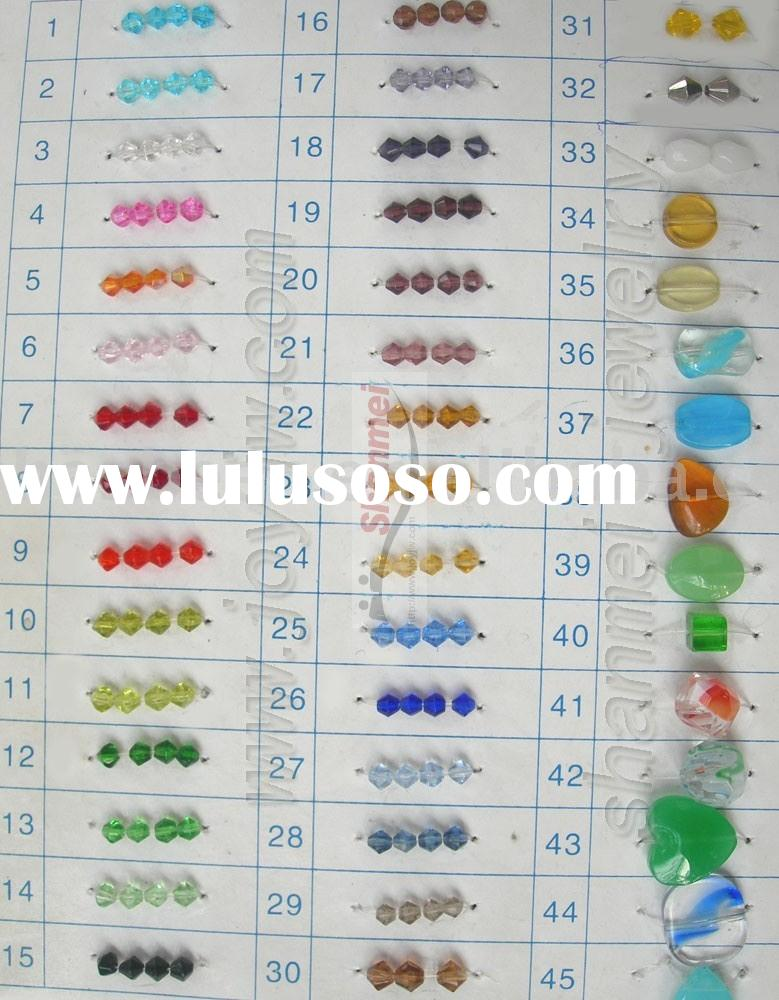 Glass Fire Polish Beads crystal beads color card