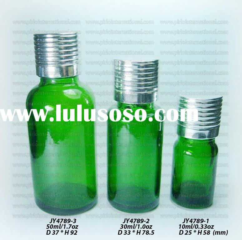 Green Glass Essential Oil Bottle With Aluminum Screw Cap And Orifice Reducer