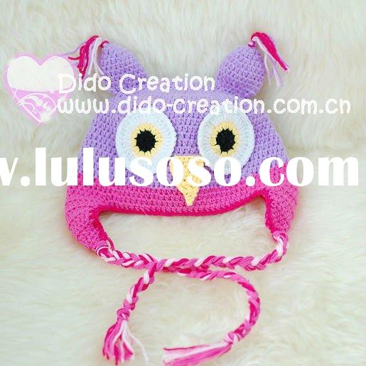 H05C035A Hand fashion Crochet Baby kufi Hats cap Beanie flower animal new born baby gifts earflap