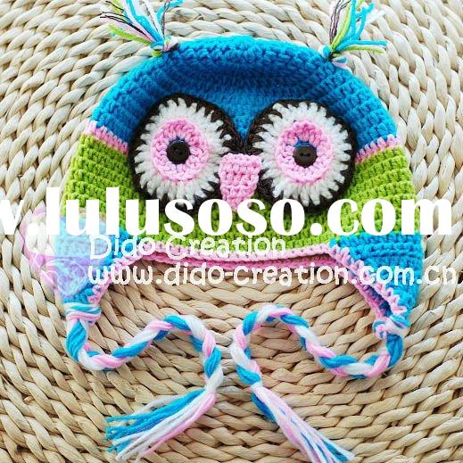 H05C035F Hand fashion Crochet Baby kufi Hats cap Beanie flower animal new born baby gifts earflap