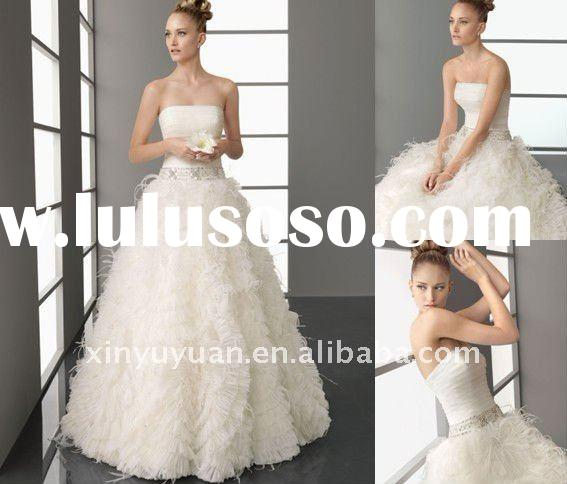 Hot! 2012 Latest Fashion Ball Modest Organza Strapless Feather Princess Gown Wedding Dress Bridal Go