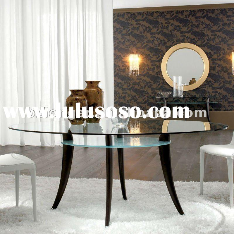 Hot sale wood leg and tempered glass dining table sets