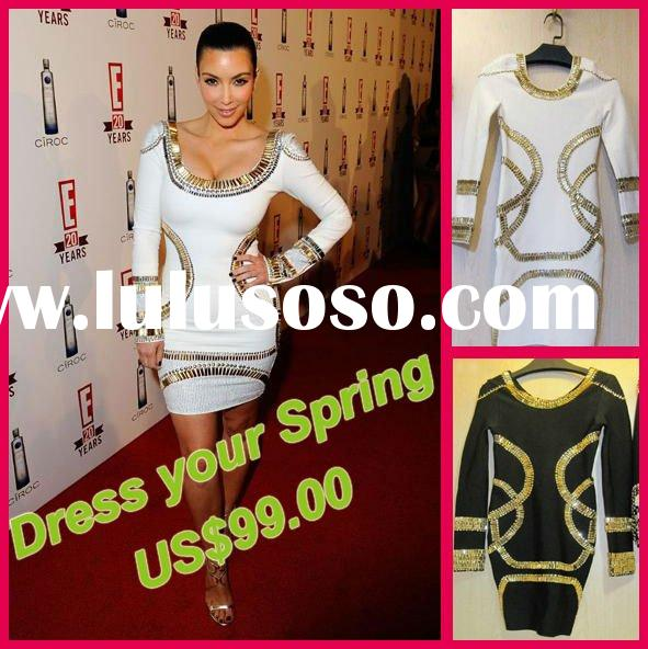 Hot selling evening Dress,White Round Neck Long Sleeve Kim Evening Dress