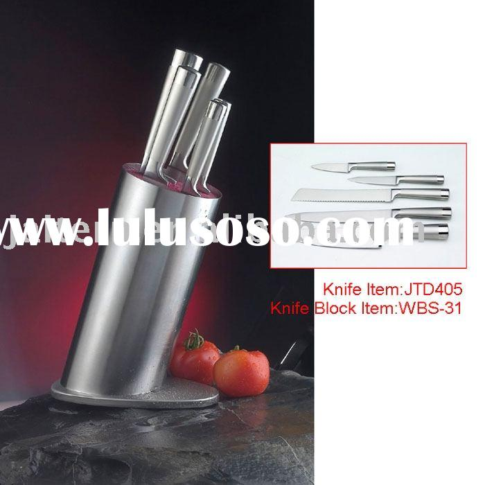 Knife set with stainless steel holder