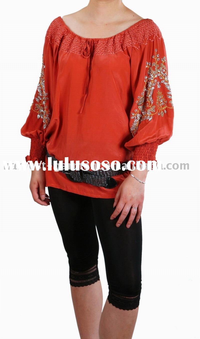 Ladies' blouse with long sleeve,fashion blouse