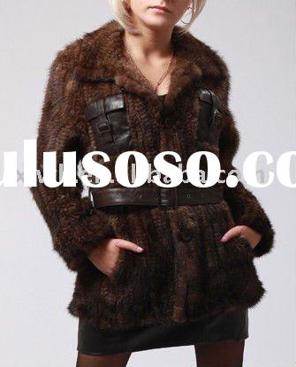 Ladies' fashion knitted mink jacket