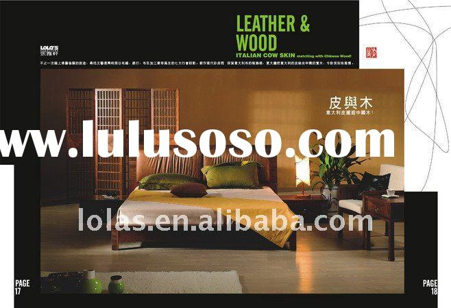 Lola's hot sales bedroom furniture set with ash wood and leather together