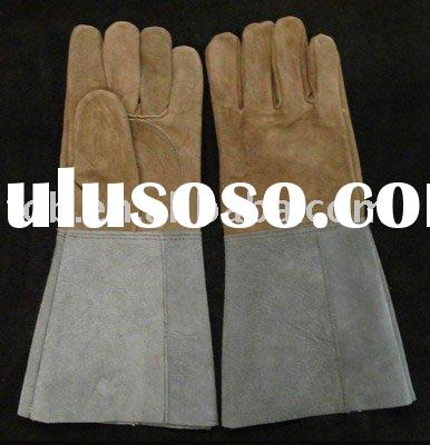 Long leather gloves,work gloves,Green Cow split leather Working Glove for welding (Safety Glove, lea
