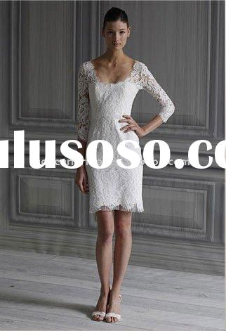 Long sleeves backless lace sheath 2012 new bridal gown factory M1525