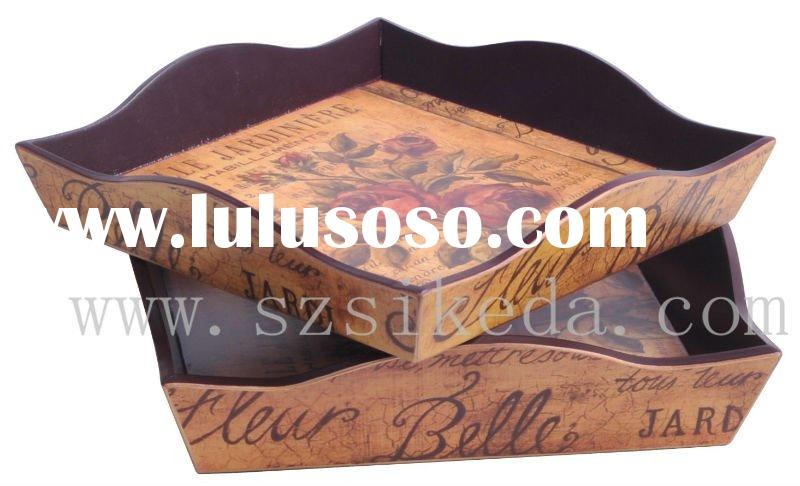 MDF Wood Tray/ Wooden Craft/ With Antique Rose Pattern