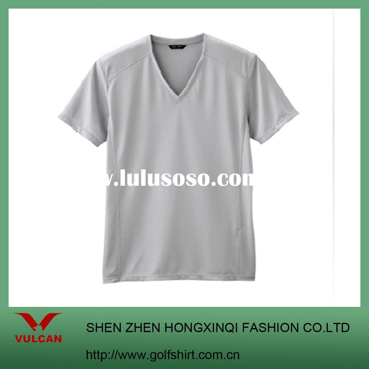 Men's Plain gray Short Sleeve T Shirt, V-neck. Accept Your Own Designs