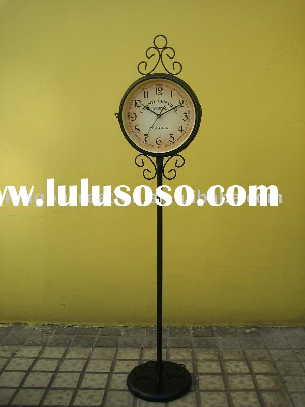 New York Double Side Wrought Iron Grandfather Floor Clock