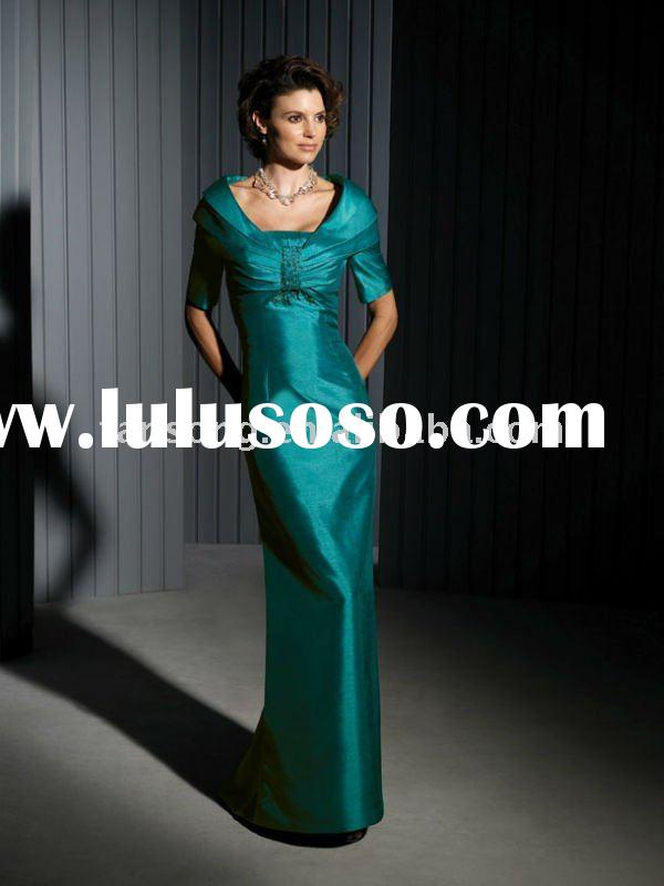 New arrival short-sleeve green mother of the bride dress