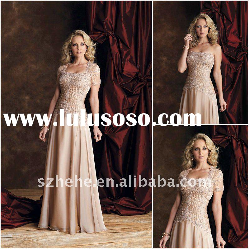 New designs mother of the bride dress long with lace jacket for 2011 fall