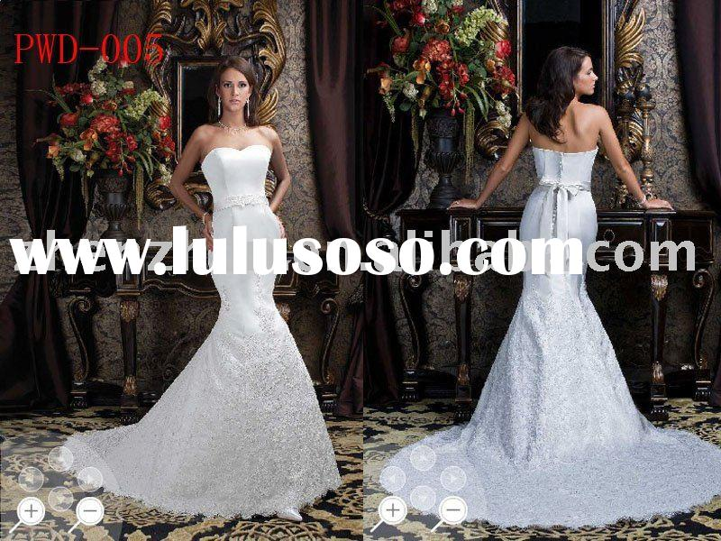 PWD-005 zhenzhen heart-shaped neckline Alencon lace wedding dress with satin button and bow on back