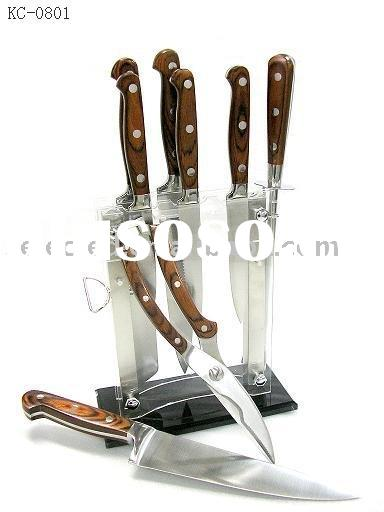 Pakka Wood Handle Cooking Knife Set with Acrylic Block