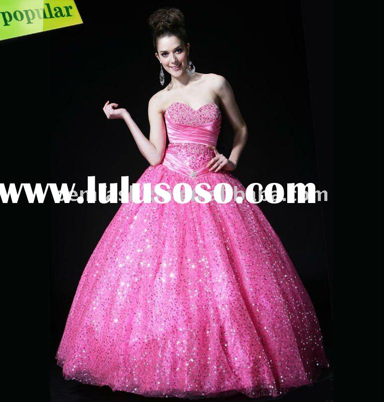 Pink /Purple Beaded Prom Dress Quinceanera Dress QD1112