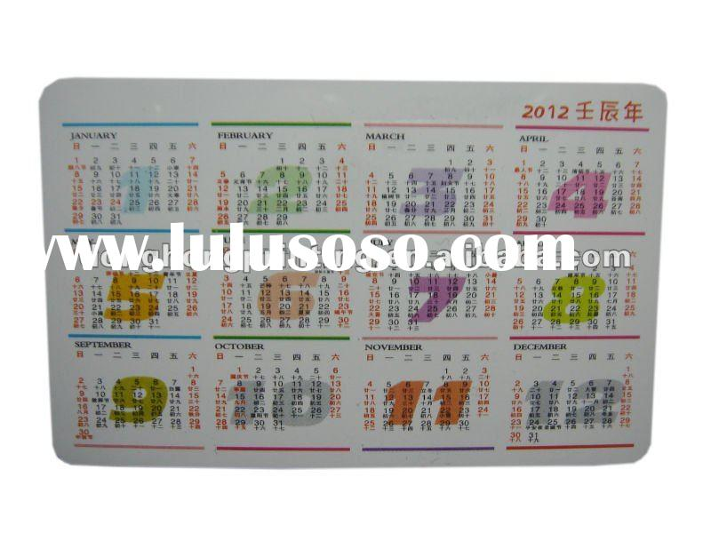 Plastic Pocket Calendar Card from manufacturer with high quality