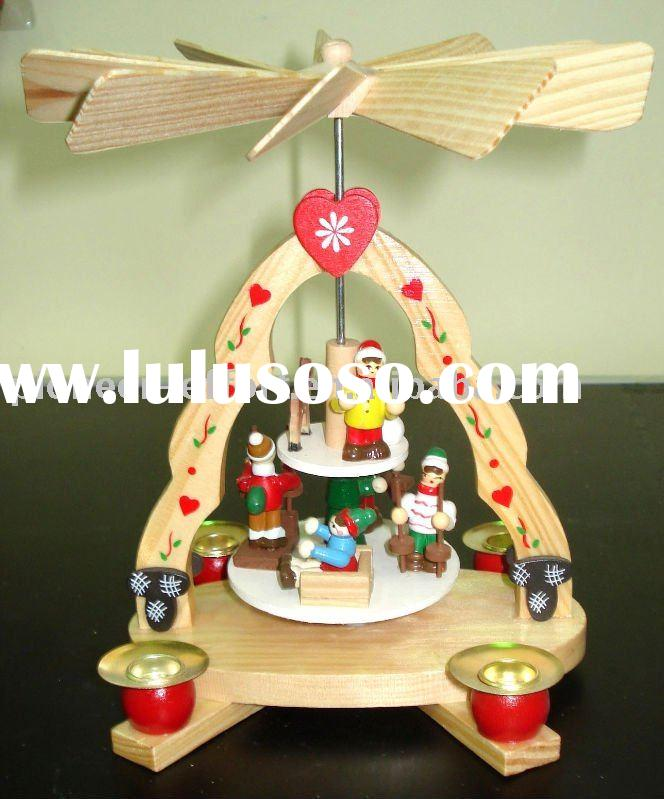 Popular in Germany wooden christmas pyramid windmill w/candle holder, kids design