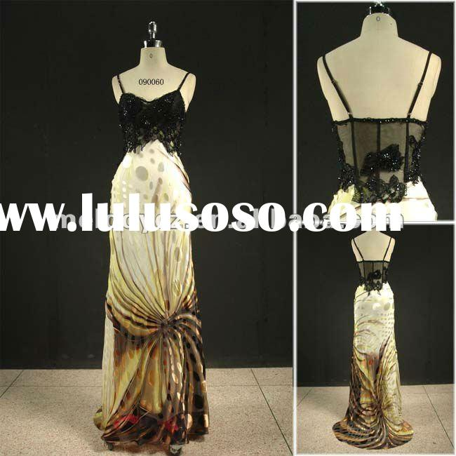 Print color beaded long lace formal evening dress