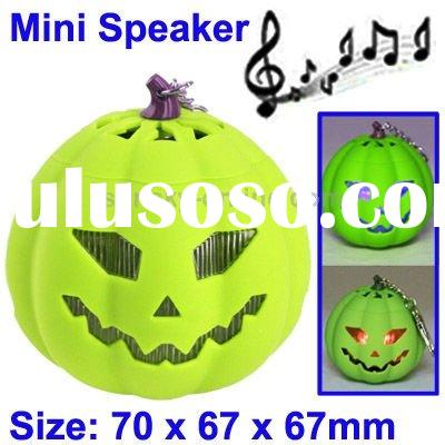 Pumpkin Style Mini Card Reader Speaker with Colorful Light, Built-in Rechargeable Battery, Halloween