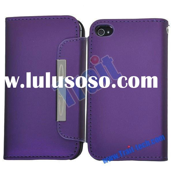 Purple Leather Wallet Card Holder Case for iPhone 4/4S