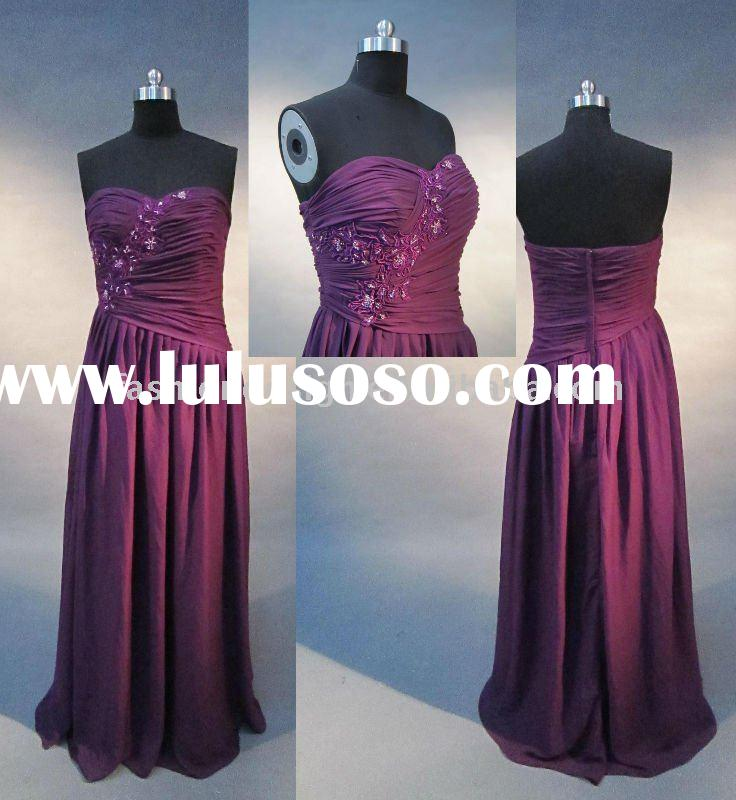 REAL337 2011 new styles beautiful purple chiffon strapless lace appliques evening dress